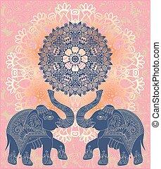 elefanten, muster, zwei, indische , einladung, original