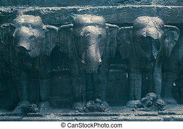 elefantes, aur, filas, ellora, número, templo, caverna, kailas, 16