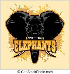 elefantes, -, deporte, club, equipo, símbolo., safari, caza, insignia, de, amarillo, elefante, tusk.