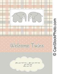 elefantes, dos, ducha, gemelos, bebé, tarjeta