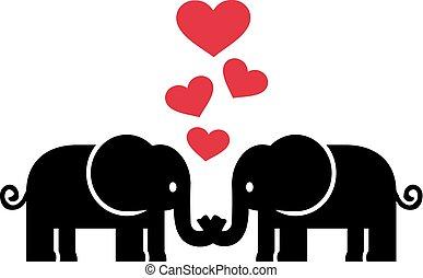 elefantes, enamorado