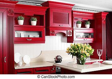 elegáns, berendezés, modern, piros, konyha