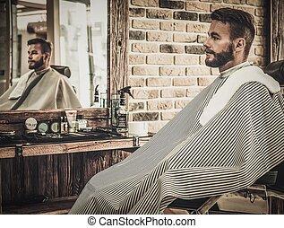 elegáns, ember, alatt, egy, férfi fodrászat