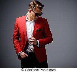 elegáns, ember, alatt, piros zakó