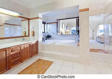 elegáns, fürdőszoba
