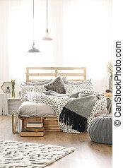 elegáns, hálószoba, belső