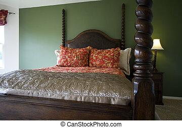 elegáns, klasszikus, hálószoba