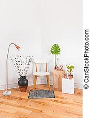 elegáns, lakberendezési tárgyak, modern hely, új
