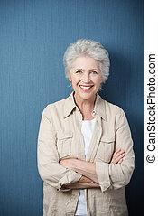 elegáns, modern, öregedő woman
