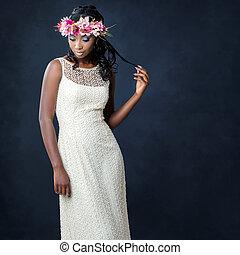 elegáns, portré, közül, afrikai, menyasszony, noha, virág, crown.