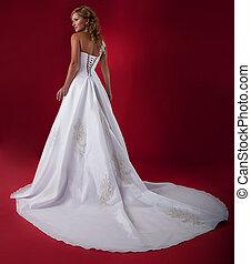 elegáns, szőke, fiatal, menyasszony, alatt, hosszú, white esküvő, ruha, felett, piros, háttér., studio vadászterület