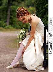 elegáns, young felnőtt, menyasszony