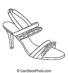 elegância, esboço, de, calcanhares altos, sapatos