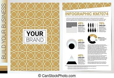 Elegan Gold Circle Pattern book cover template