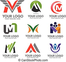 elegan letter M logo set - modern concept and simple letter...