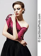 elegance., 傷感, 摯愛, 婦女, 在, reverie., exquisiteness