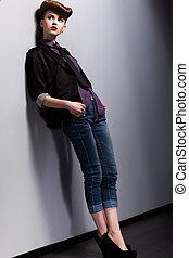 elegance., aantrekkelijk, meisje, in, bevallig, pose., opprikken, style., retro, hairstyle