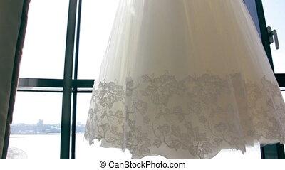 elegance, beautiful, Wedding dress at window