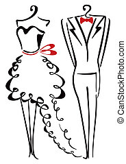 Elegance clothes - Dress and suit hanging on coat hanger