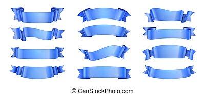 elegance, dekoration, facon, scroll, isolated., elementer, vektor, bånd, bølge, konstruktion, etikette, realistiske, samling, ribbons., fest, banner, blå