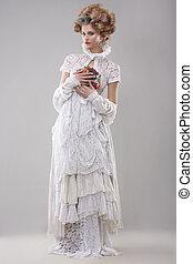 elegance., deslumbrante, modelo moda, em, longo, vestido, e, buquê flores