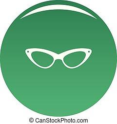 Elegance eyeglasses icon vector green
