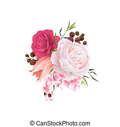 Elegance flowers bouquet of color roses and tulip . Composition with blossom flowers. Vector illustration.