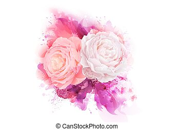 Elegance flowers bouquet of pink color roses. Composition with blossom flowers on the artistic abstract background