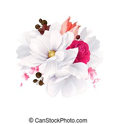 Elegance flowers bouquet of white beautiful Magnolias, color rose and tulip . Composition with blossom flowers. Vector illustration.