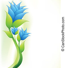 Elegance illustration with blue flowers. Vector