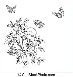 Elegance pattern with flowers narcissus and butterfly on white background