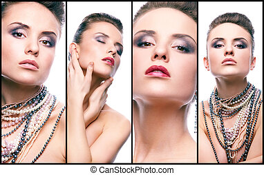 Elegance - Collage of gorgeous woman with pearl beads...