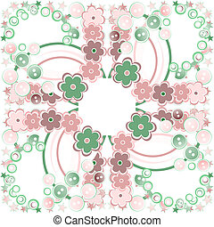 Elegance seamless flowers pattern on abstract background. Floral illustration