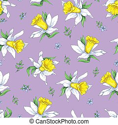 Elegance Seamless pattern with flowers narcissus on spring background