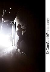 Elegance - Silhouette of elegant lady standing in the dark...