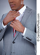 Elegance - Close-up of smart businessman touching his...