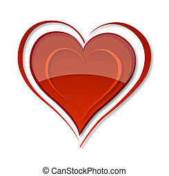 elegance swirl and glass red heart