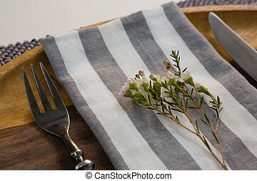Elegance table setting on placemat - Close-up of elegance...