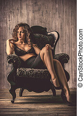 elegance woman - Beautiful young woman alluring in sexual...