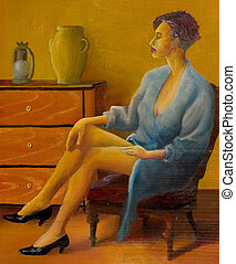 Elegance woman - Woman sitting in interiors, this image is...