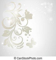 elegancia, patrón, con, flores, en, vendimia, style.card,...