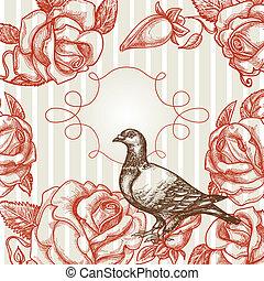elegancia, plano de fondo, con, amar el pájaro, rosas, y, marco, para, texto