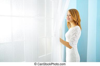 elegancja, dziewczyna, na oknie