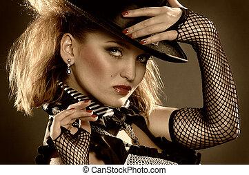 elegancja, kobieta, z, kapelusz