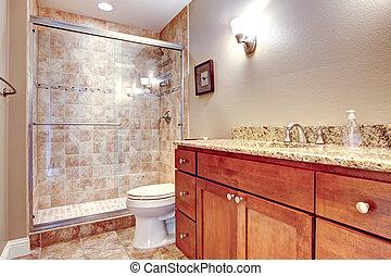 elegancki, łazienka, z, szklane drzwi, przelotny deszcz