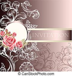 elegancki, ślub, karta, zaproszenie