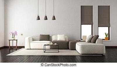 elegancki, żyjący, biały pokój, sofa