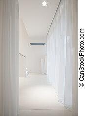 elegancki, biała przestrzeń, wnętrze, miejsce zamieszkania