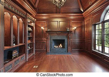 elegancki, biblioteka, z, czarnoskóry, kominek