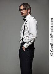 elegancki, człowiek, okulary